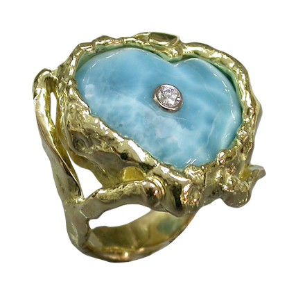 Carved Larimar in molton Gold Ring Setting