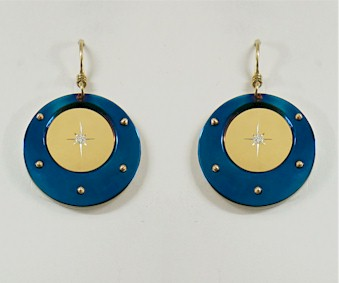 Titanium Earrings - Circle Star Design