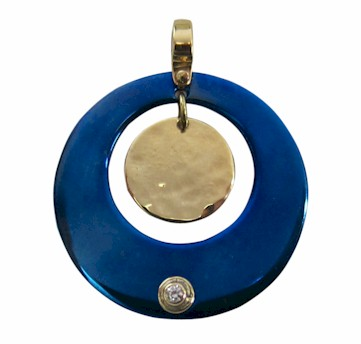 Titanium Designer Pendant - circle with dangling hammered gold disk